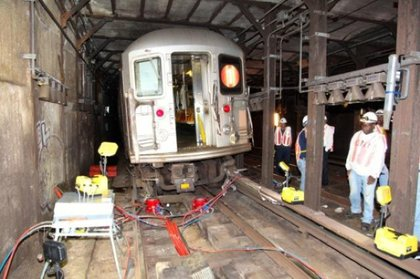 Lifting the train to be re-railed