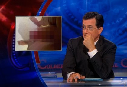 """Colbert looks at the """"dickture"""""""