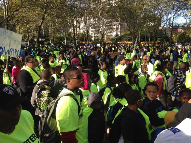 A pro-charter school rally at Cadman Plaza in Brooklyn
