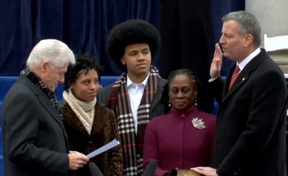 Former President Bill Clinton swears in Mayor Bil de Blasio