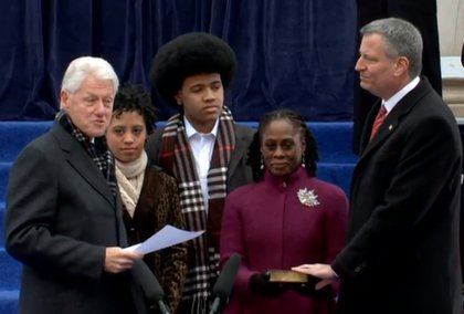Clinton pointed out that the bible Chirlane McCray is holding is from FDR