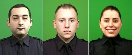 Police officers Marc Lebron, Christian Allen and Sarah Sweigart