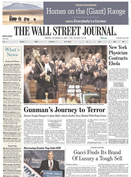 The Wall Street Journal is more into the badass Canadian House of Commons sergeant of arms who stopped the Ottawa shooter.