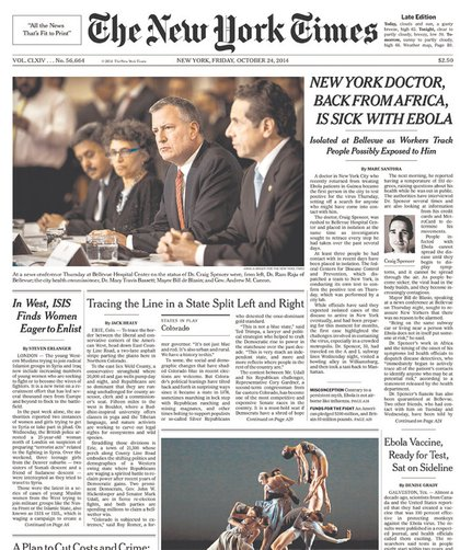 The Times went with a strong Mayor de Blasio photo