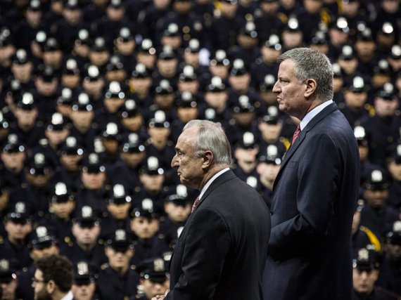 Police Commissioner Bill de Blasio and Mayor Bill de Blasio at the NYPD graduation this week