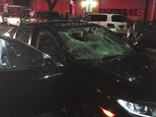 The car's windshield