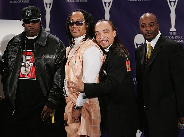 Scorpio, Melle Mel, Kidd Creole and Raheim of The Furious Five pose in the press room at the 22nd annual Rock And Roll Hall Of Fame Induction Ceremony at the Waldorf Astoria Hotel March 12, 2007 in New York City