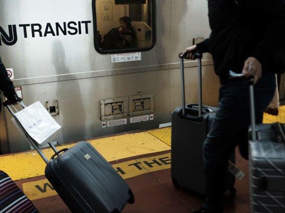 NJ Transit passengers at Penn Station in April