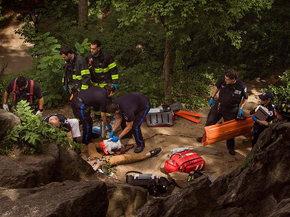 Emergency responders attend to Connor Golden in Central Park on July 3, 2016
