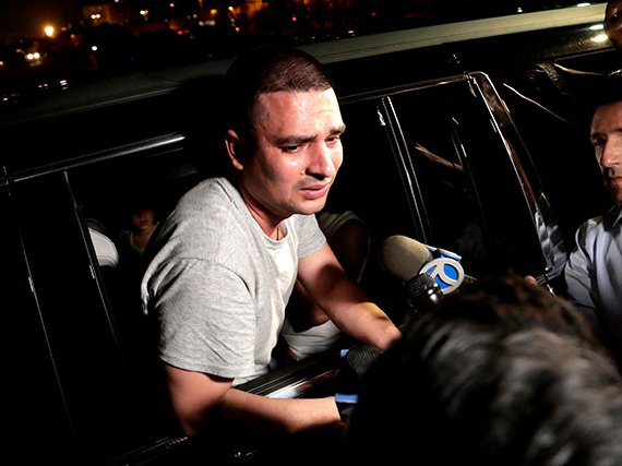 Pablo Villavicencio after being releases from the ICE detention facility in Kearny, NJ