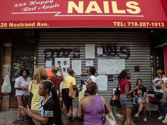 Outside the nail salon on August 7