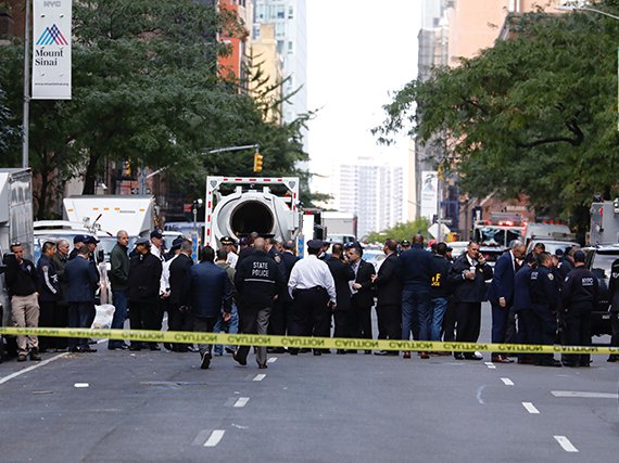 Police outside CNN's headquarters at the Time Warner Center in New York City