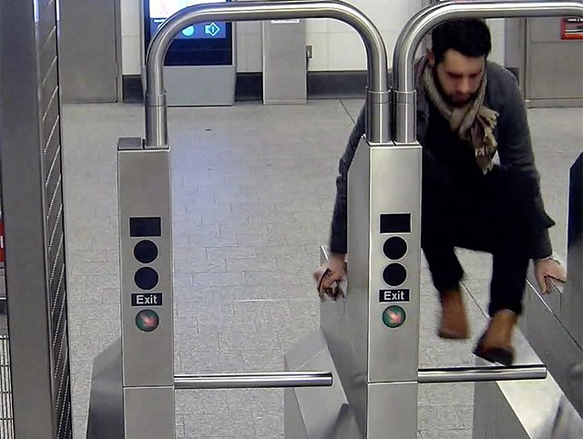 A person jumping a turnstile at 96th Street and 2nd Avenue