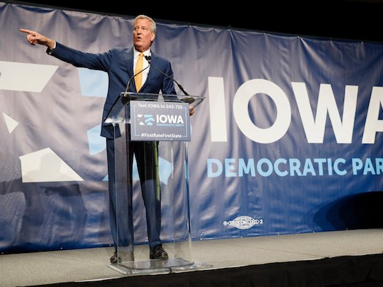 Bill de Blasio speaking in early June during the Iowa Democratic Party's Hall of Fame Celebration, in Cedar Rapids, Iowa.