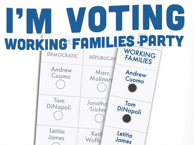 A Working Families Party promotional image to vote on a fusion ticket