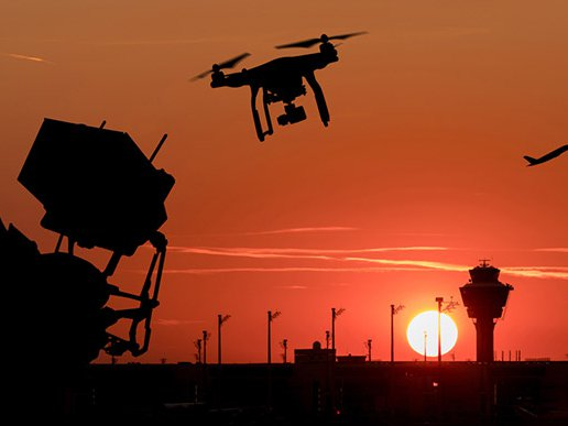 Stock image of drone and airplane