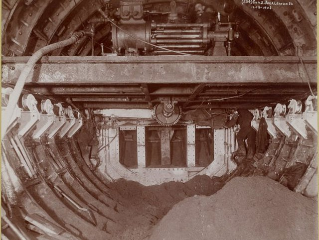 Photograph of subway tunnel construction from November 15, 1903