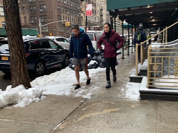 It was so snowy that someone decided to wear shorts