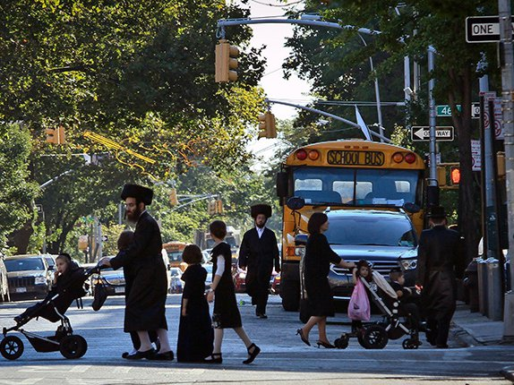 Residents of the Orthodox Jewish community in Borough Park, Brooklyn, in 2013