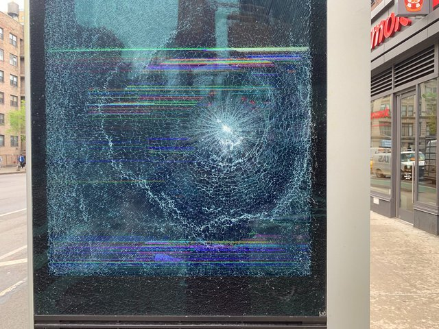 One of the damaged LinkNYC kiosks