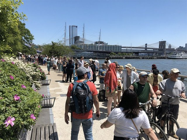 People waiting for the ferry at the South Street Seaport