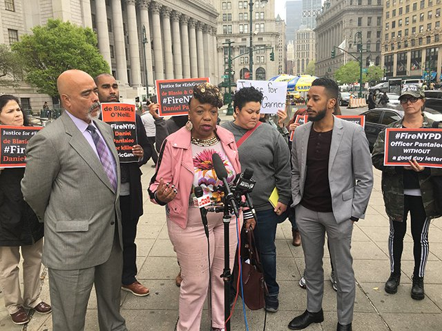 Gwen Carr, the mother of Eric Garner, speaks outside state supreme court yesterday.