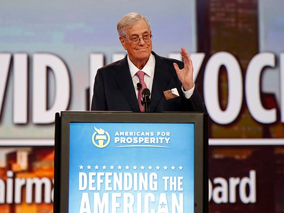 David Koch speaks at an Americans for Prosperity event in 2014