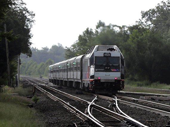 A NJ Transit train near Bound Brook