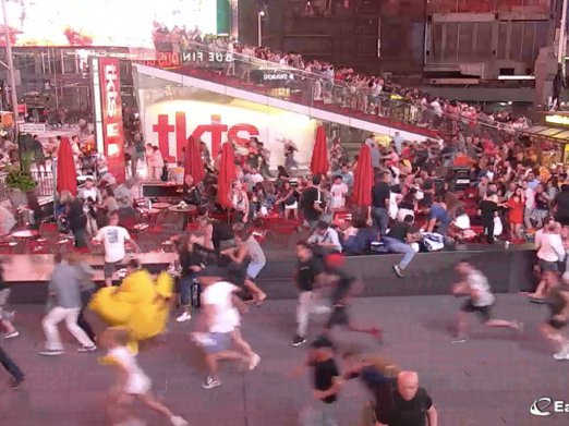 Pedestrians fleeing Times Square