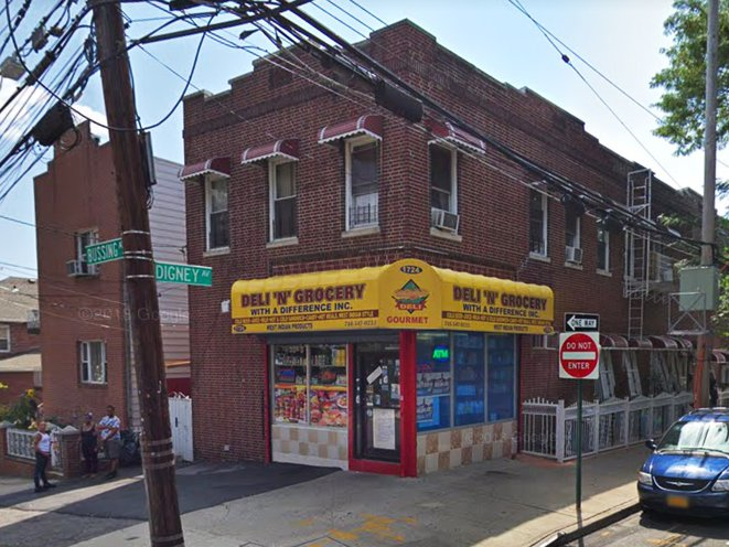 The corner of Bussing Avenue and Digney Avenue shows a deli with a yellow awning.