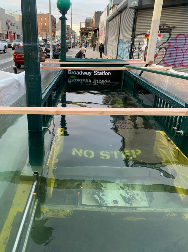 Yes, The MTA Completely Flooded This Subway Entrance For A Reason