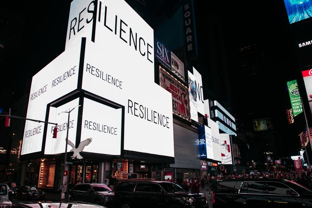 Times Square sign says Resiliance