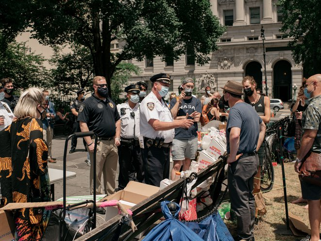Activists Occupy City Hall Park Demanding 1 Billion In Cuts To The Nypd Gothamist