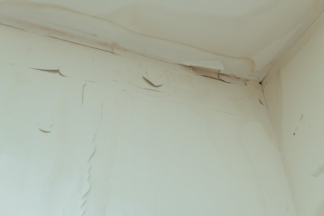 Peeling paint and water stains on the ceiling of Ludwig Hurtado's room.