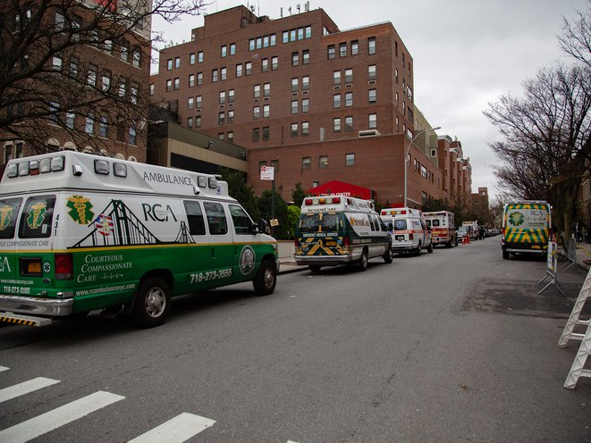 Numerous ambulances wait outside Methodist Hospital in Park Slope, Brooklyn