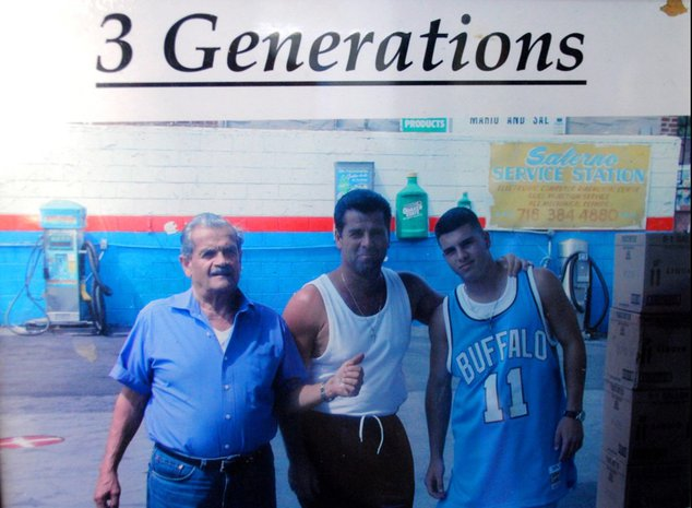 "Photograph of Mario Salerno with his father and son, with words ""Three Generations,"" above them"