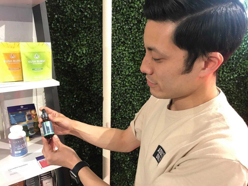 Steven Phan shows off a CBD tincture
