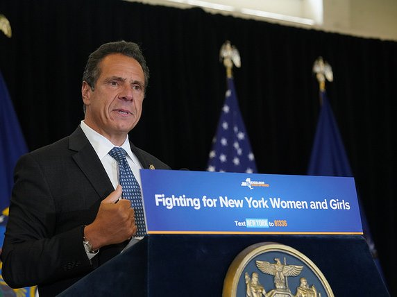 Governor Cuomo at a press conference in August of 2018. In 2014, Cuomo created the Women's Equality Party. In 2018, the WEP endorsed Andrew Cuomo over Cynthia Nixon.