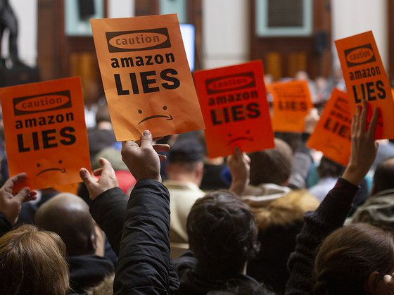 Protesters at Wednesday's City Council hearing on Amazon's planned new Long Island City campus