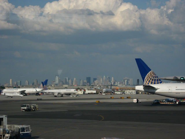 The skyline of New York City as seen from Newark Liberty International Airport. Photo by Ken Lund.