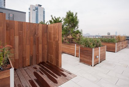 """The roof also features an outdoor shower. """"It's a Euro thing,"""" Guzman explains. """"You can use it to cool down, or wash the lotion off, whatever.""""<br/>"""