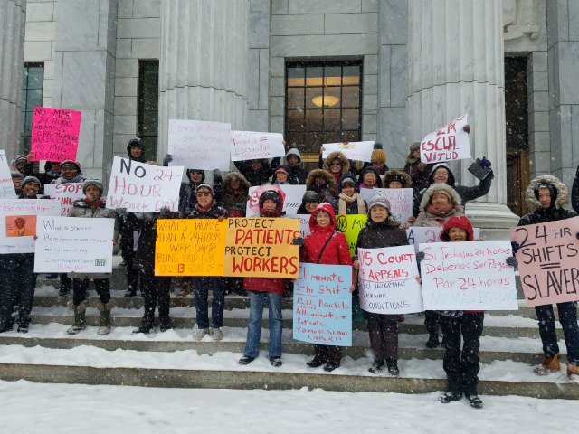 Home health aide workers rally outside the New York Court of Appeals in Albany last month