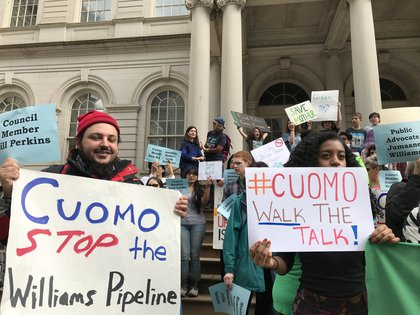 Protesters outside City Hall (George Joseph / Gothamist)