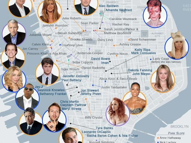 NYC Star Map Feeds Your Healthy Celebrity Worship - Gothamist Celebrity Star Map on star home map, famous star map, red star map,
