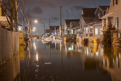 Numerous cars were lost Monday on flooded 12th Road in Broad Channel, Queens.<br/>