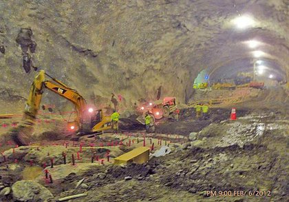 This photo shows mining of the cavern that will house the Second Avenue Subway's 72nd Street Station.