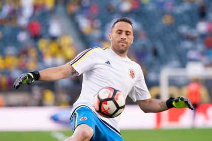 Colombia goalkeeper David Ospina warms up before the match.