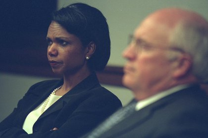 "From FRONTLINE: ""National Security Adviser Condoleezza Rice joined Cheney in the PEOC. Throughout the morning they were receiving reports of airplanes headed toward the White House.""<br/>"