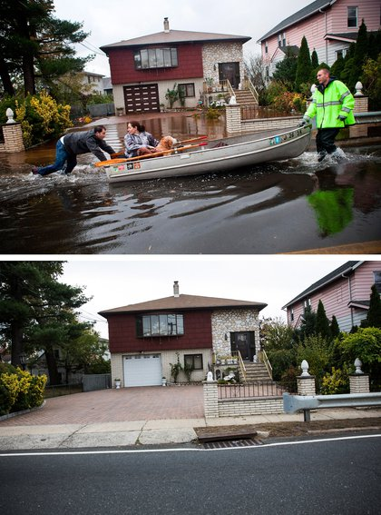 [Top] An emergency responder helps evacuate two people with a boat, after their neighborhood experienced flooding due to Superstorm Sandy October 30, 2012 in Little Ferry, New Jersey. [Bottom] The same home in Little Ferry, NJ is shown October 22, 2013.