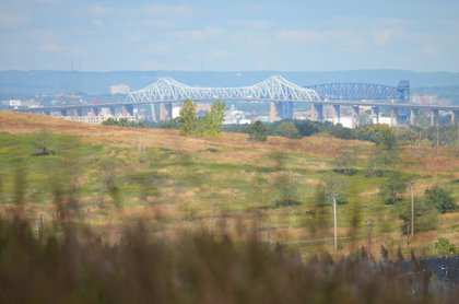 Goethals Bridge as seen from the South Park area<br/>